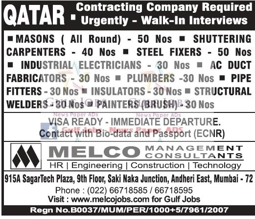 Contracting Company Urgent Jobs For Qatar