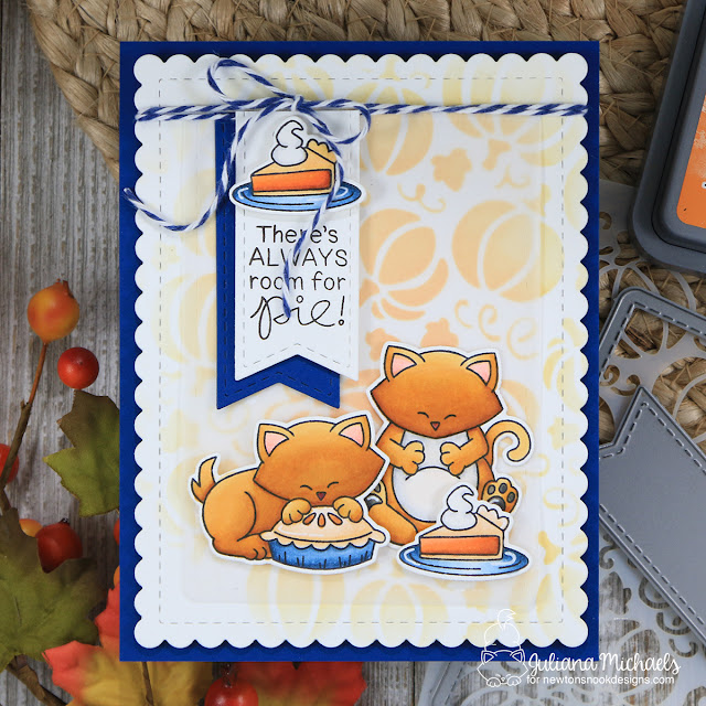 Pumpkin Pie Card by Juliana Michaels featuring Newton's Thanksgiving Stamp Set and Pumpkin Patch Stencil