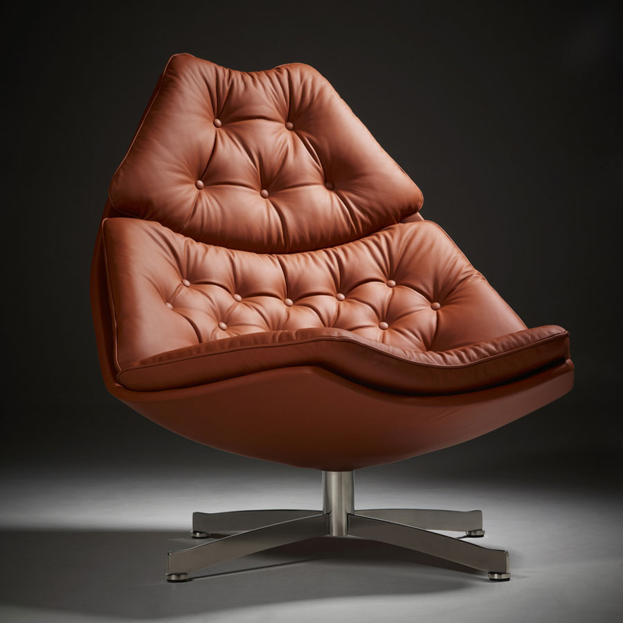 Artifort F587 Fauteuil.Lounge Chairs And Ottomans Artifort Model F587 Leather Brown