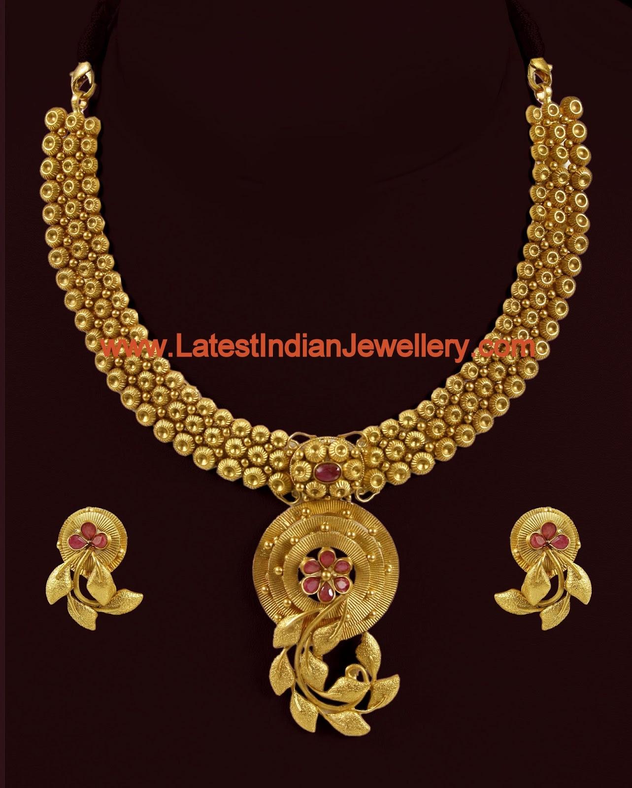 Designer Indian Antique Gold Necklace Set In Trendy Design