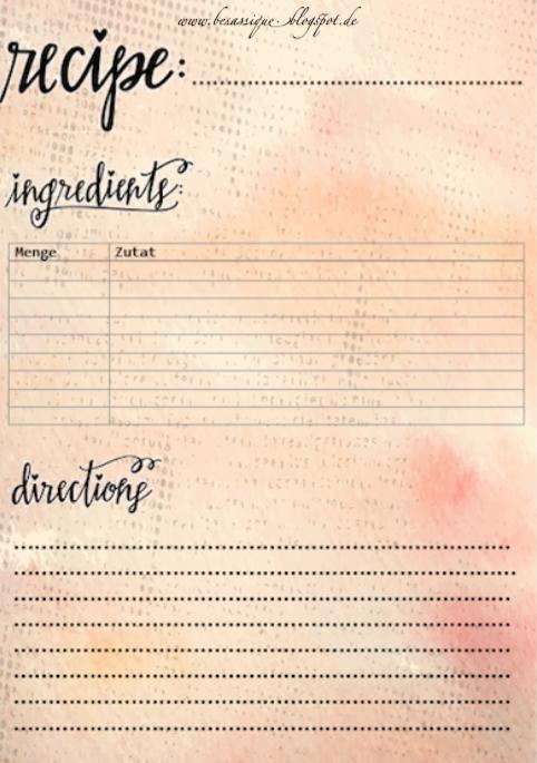 Rezeptkarten Zum Ausdrucken Kostenlose Vorlagen