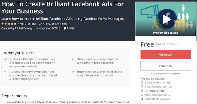 [100% Off] How To Create Brilliant Facebook Ads For Your Business| Worth 24,99$