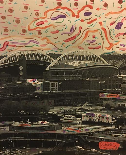 """CenturyLink Field (Seattle, Washington) by Justin Lacche, 2016: mixed media (original photograph)"