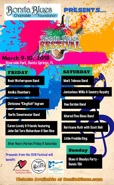 Bonita Blues Festival Line Up Announced for March 9 & 10, 2018 - The Best of Fests Under the Florida Sun!