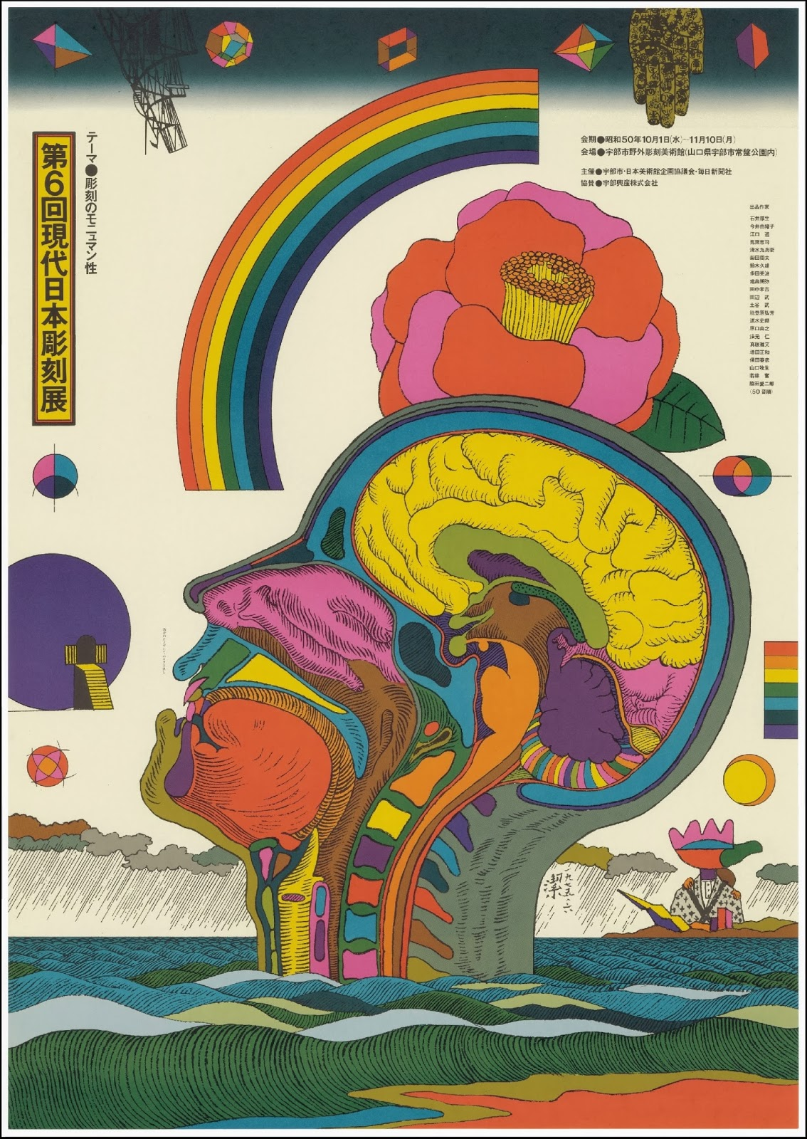 very colourful poster with transection of  human head, rainbow, flower etc