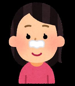 毛穴パックを使う人のイラスト(鼻パック)