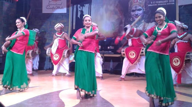 Performances of dance and mind-blowing songs by folk artists of Sri Lanka nation at the Chaura of Surajkund Handicrafts Fair