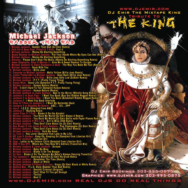DJ Emir Michael Jackson Mixtape Cover back Track Listing