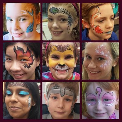dolphin, feather, fish, fire, lion, flowers, Indian headband, knight helmet, flamingo face paint