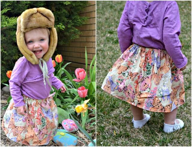 Sewing for the Baby: Simple Butterfly Drawstring Skirt