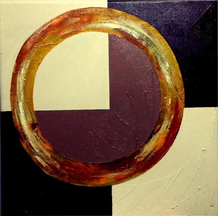quadro tipo poster com textura e tinta acrílica com circulo e quadrados
