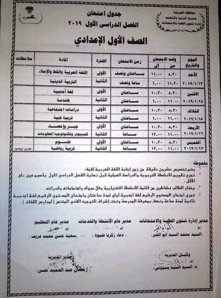 جدول امتحانات الصف الأول الاعدادي 2019 محافظة الشرقية