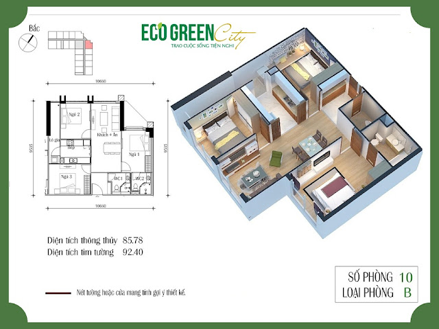 Thiết kế căn số 10 toà CT2 Eco green city