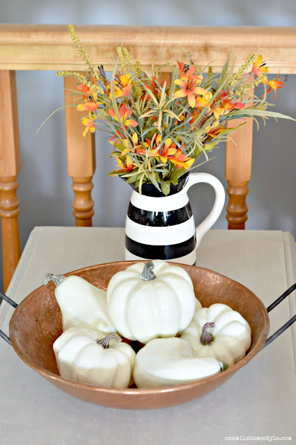Vintage copper bowl with white pumpkin fall decor