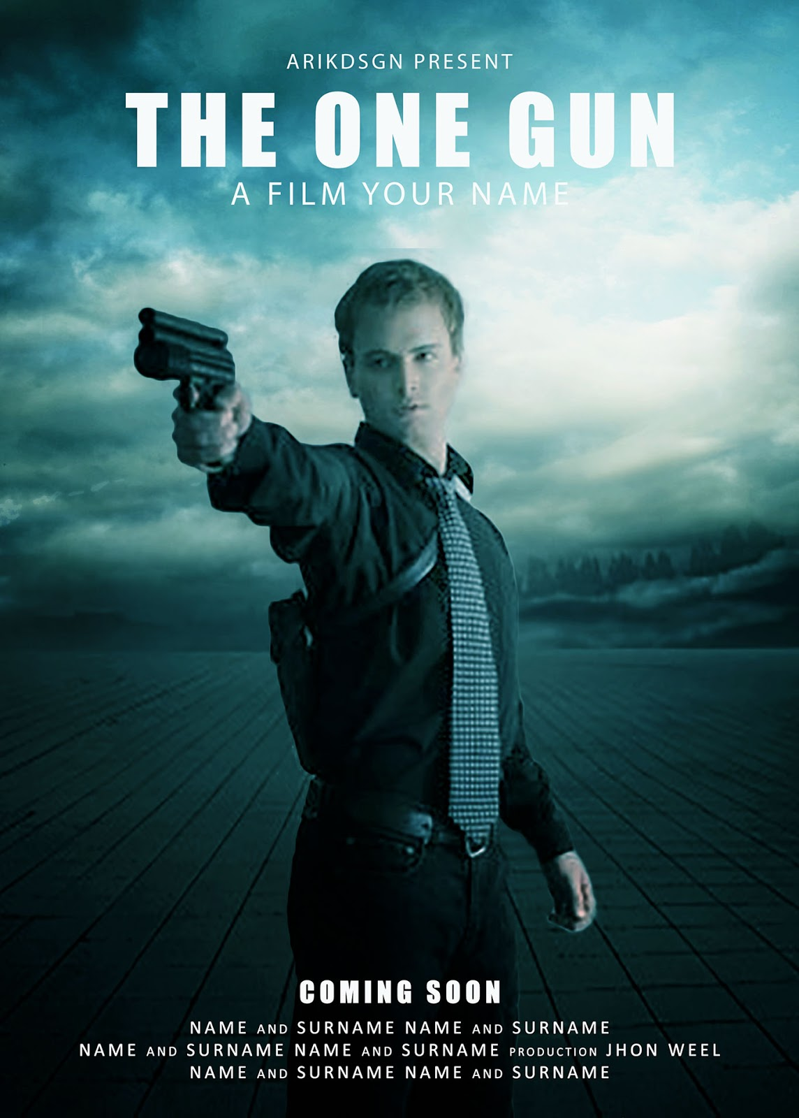 Poster design in photoshop - Today I Will Try Create A Movie Poster Design With Title The One Gun In Photoshop Cc 2015 To Work With Layer Mask Blending Option And Adjustment Color