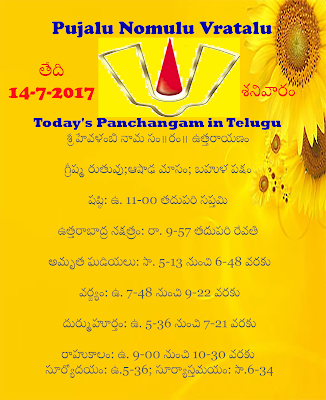 Today's Panchangam in Telugu ,Today's Panchangam in English