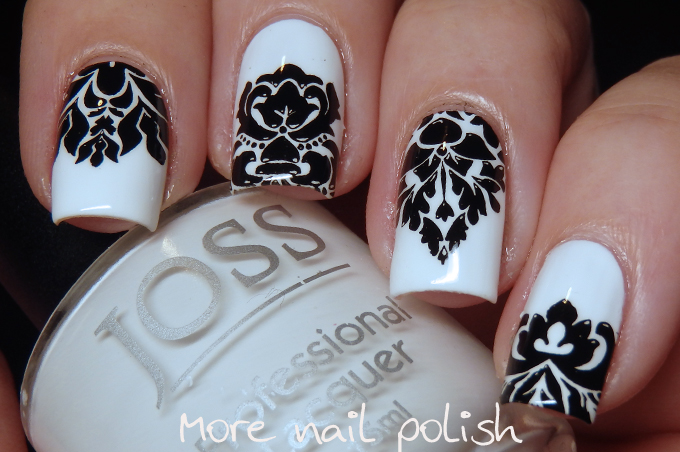 Black And White Damask Nail Art The Mistake More Nail Polish