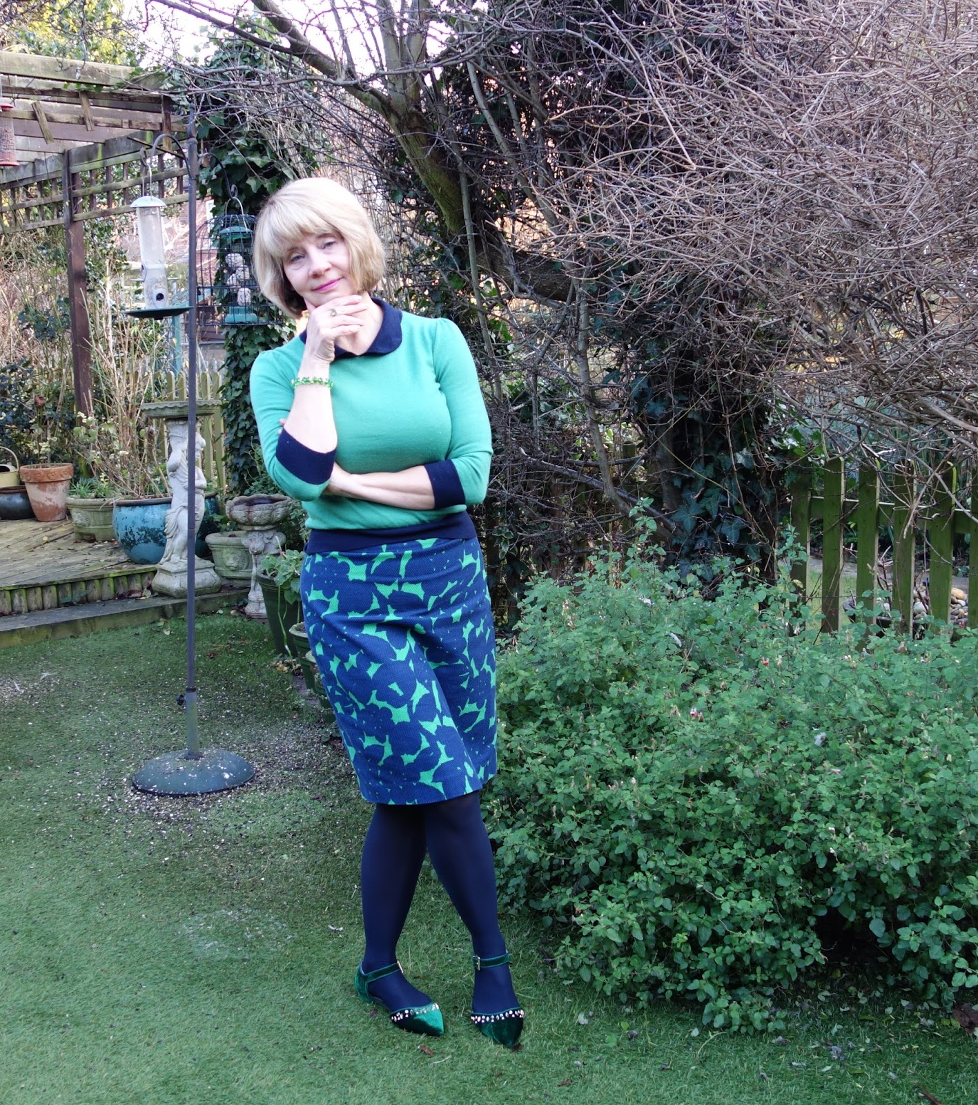 Green jumper and skirt from Boden with Next flat green shoes