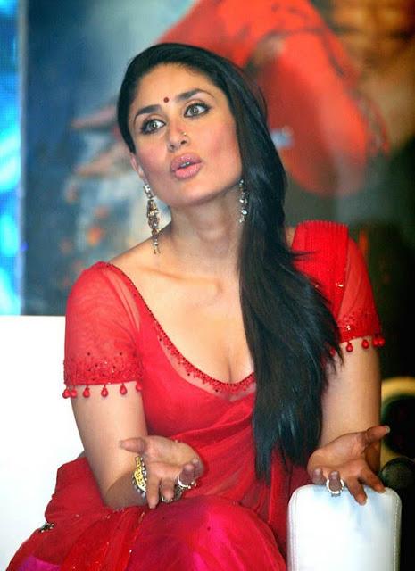 Bollywood Actress Kareena Kapoor In Red Saree  Tamil -2325
