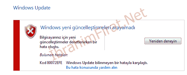 Kod (80072EFE) Windows Hatası