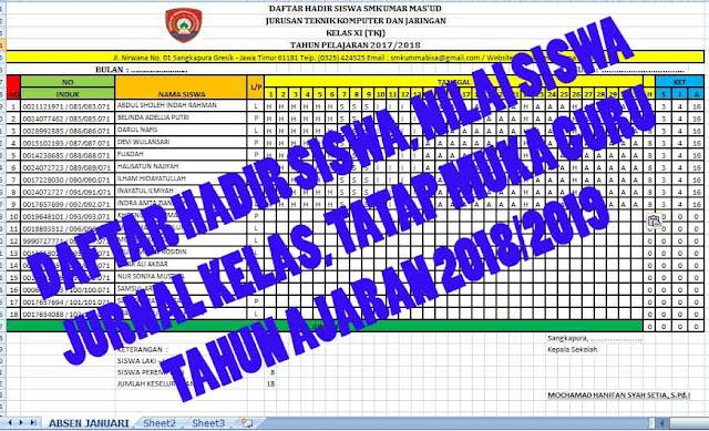 Download Absen Siswa / Daftar Hadir Siswa, Daftar Nilai, Jurnal Kelas, Tatap Muka Guru SMA SMK Tahun Ajaran 2018-2019