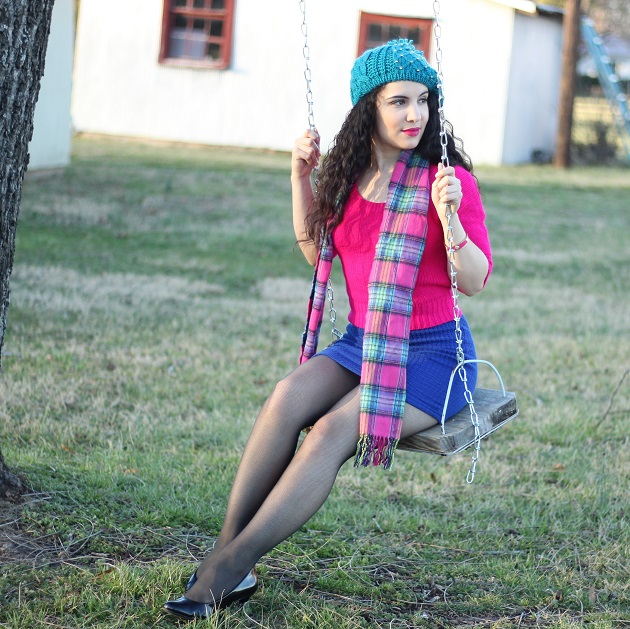 Pink Sweater and Blue Sweater Skirt