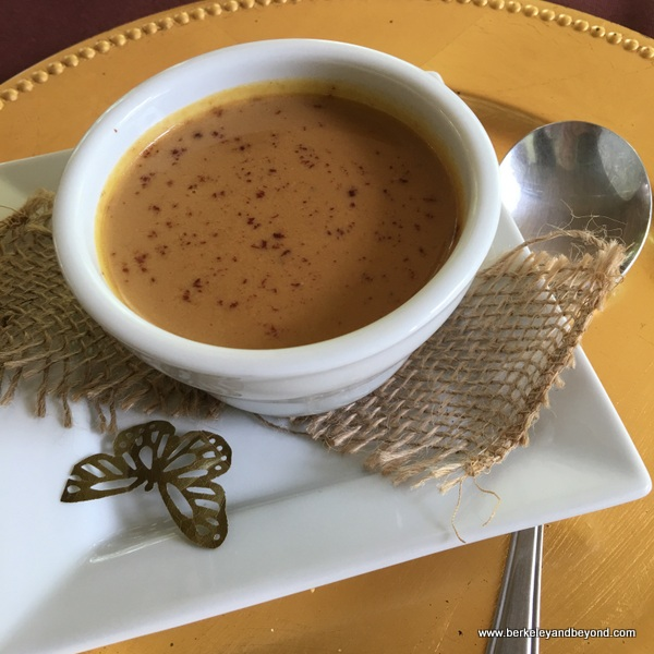 pumpkin-chocolate soup at Cafe Mariposa in Lopinot Village in Trinidad