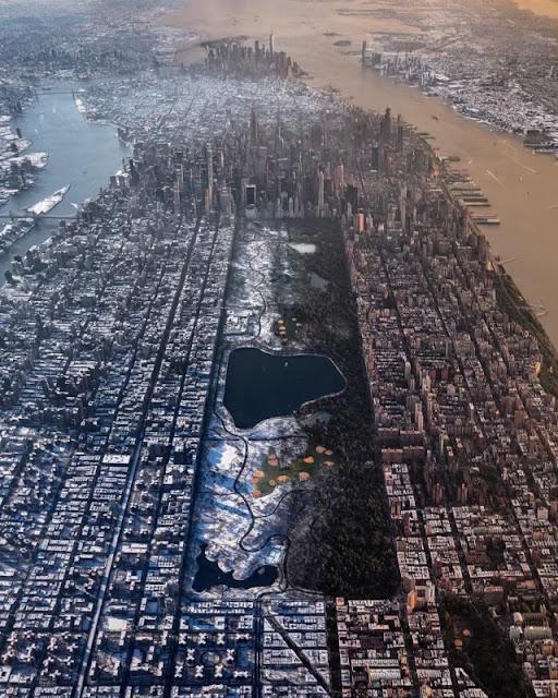 Una foto aerea ci mostra il cambiamento di New York City tra estate e inverno