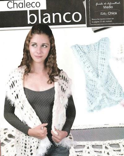 Chaleco blanco contorno con lana peluda
