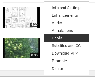 Selecting 'Cards' from the drop-down menu in 'My Videos'