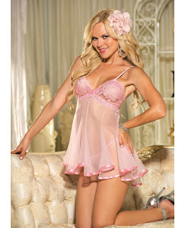 Women's Lace and Net Babydoll w/Adjustable Straps and G-String Pink