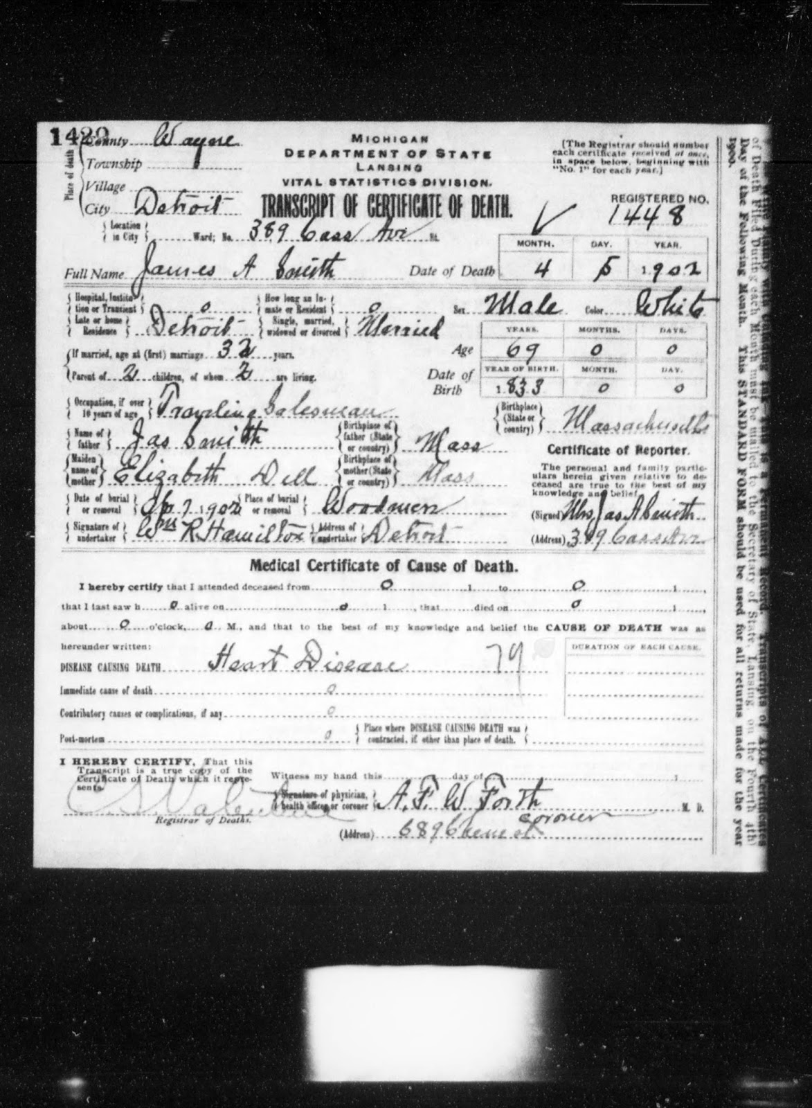 Genea musings treasure chest tuesday james a smith 1902 information extracted from this death record includes aiddatafo Choice Image