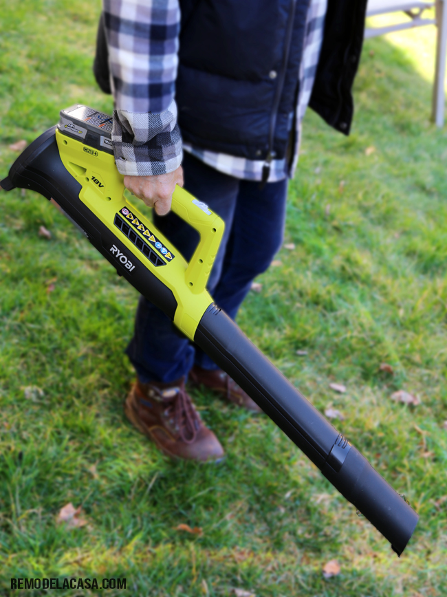 cleaning the yard with Ryobi leaf blower