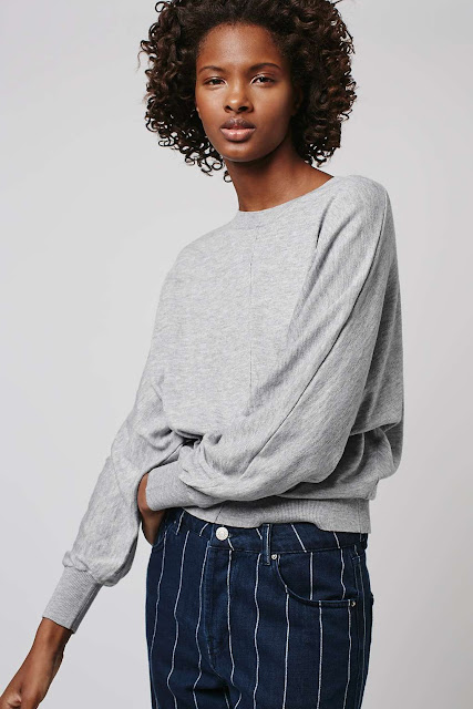 grey batwing jumper, grey slash neck jumper, topshop batwing top,
