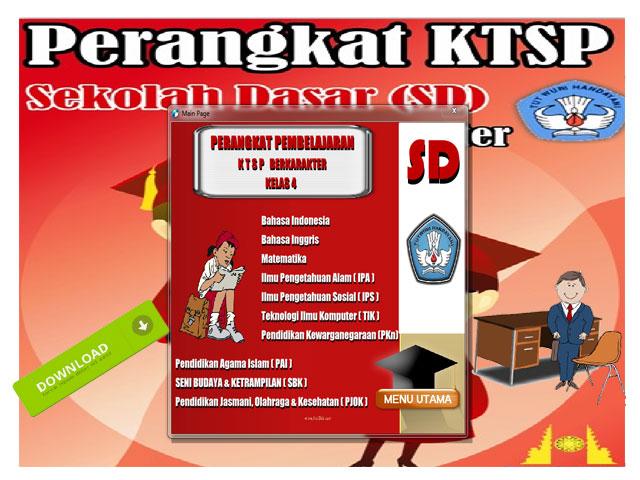 Perangkat Pembelajaran KTSP Berkarakter Kelas 4 SD/MI Lengkap Format Words