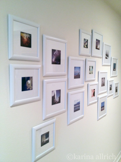 For the entry wall I framed my iphoneography with inexpensive white frames.