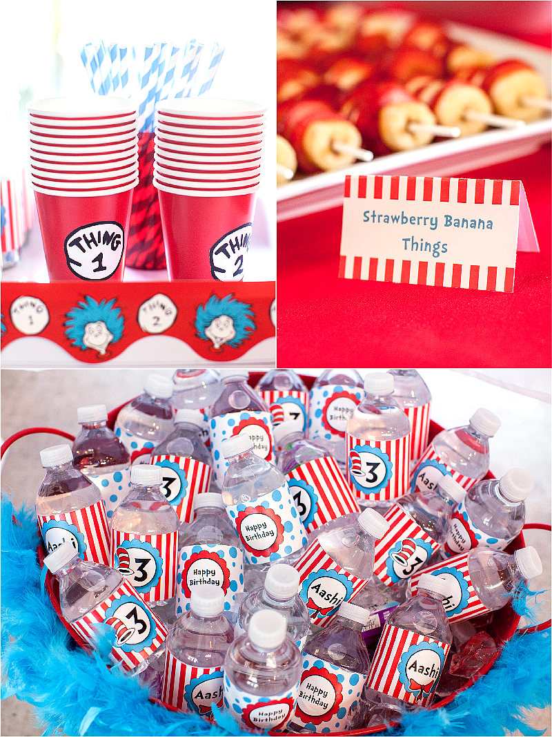 Cat in The Hat Inspired Birthday Party DIY Drinks Station - via BirdsParty.com