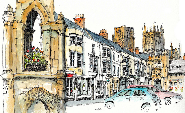 18-UK-Wells-Market-Square-Somerset-Chris-Lee-Charming-Architectural-wobbly-Drawings-and-Paintings-www-designstack-co