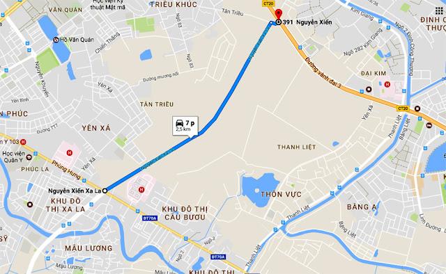 Vị trí quy hoạch các tuyến đường khu Hà Đông
