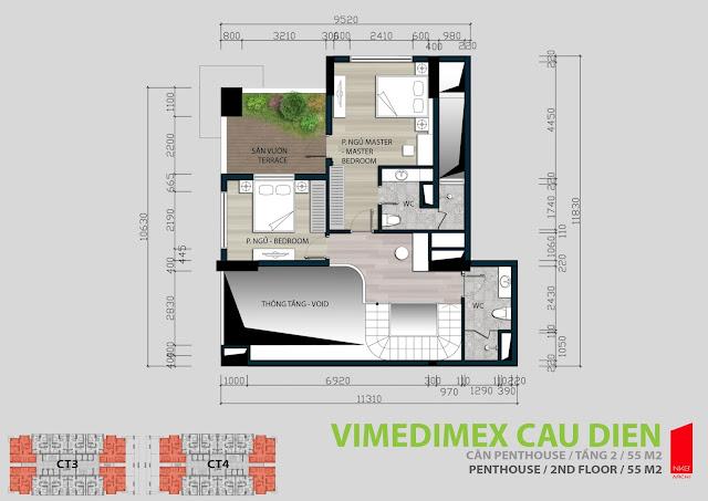 Thiết kế tầng 1 - 55m2 căn hộ Penhouse
