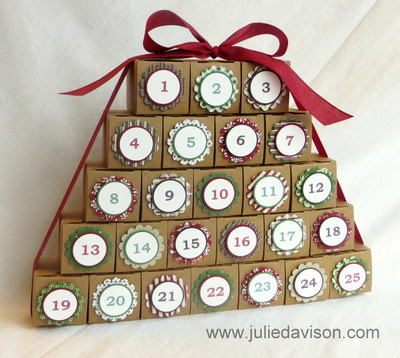 VIDEO: Stampin' Up! Tiny Treat Box Christmas Countdown Calendar + GIVEAWAY #advent #christmas www.juliedavison.com