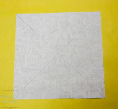 X on white block to make half square triangles