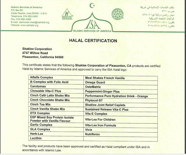 sijil halal shaklee 2017, shaklee halal
