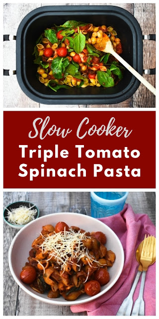 A simple slow cooker pasta dish where the sauce and pasta are cooked together. Three types of tomato and spinach are the base of this delicious saucy pasta. #veganslowcooker #vegetarianslowcooker #slowcookerpasta #vegancrockpot #vegetariancrockpot #crockpotpasta #slowcooker #crockpot