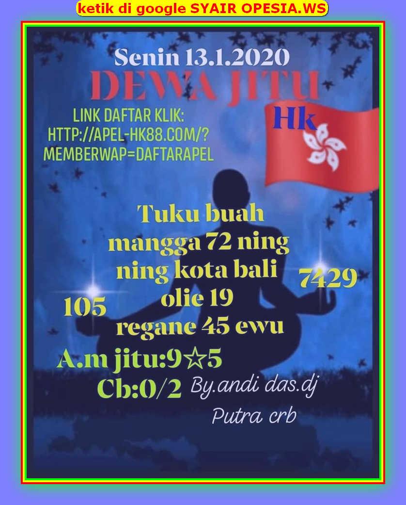 Kode syair Hongkong Senin 13 Januari 2020 10