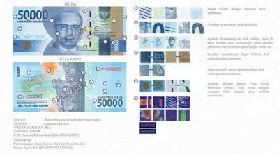 Uang rupiah Baru pecahan Rp 50 ribu kertas