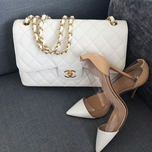 Channel white bag with heel shoes