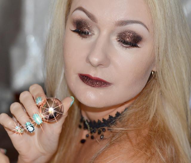 LAsplash Crystallized glitter Whiskey sour swatches & makeup, новогодний макияж 2018, макияж для встречи нового года, макияж с глиттером