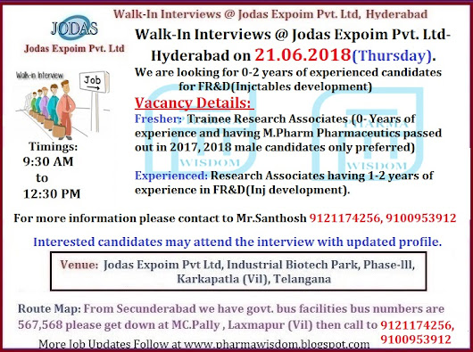 Jodas Expoim Pvt. Ltd - Walk-In Interviews for Freshers & Experienced Candidates for FR&D on 21st June, 2018 @ Karkapatla