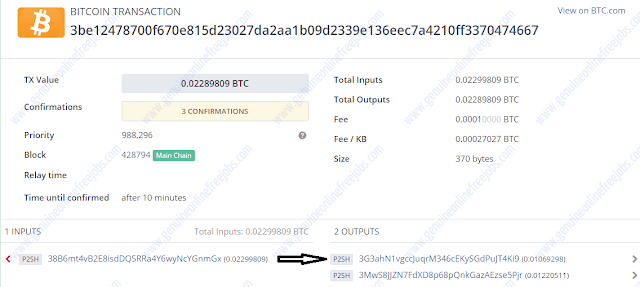 BTCclicks payment transaction complete